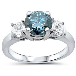 Certified Noori 14k White Gold 1 1/4ct TDW Blue and White Diamond 3-Stone Engagement Ring