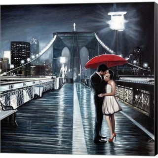 Pierre Benson 'Kissing on Brooklyn Bridge' Canvas Art