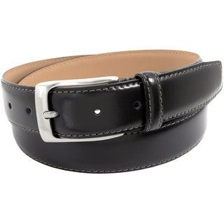 Florsheim Black Genuine Italian Leather 32-millimeter Full Grain Smooth Contrast Stitch Belt