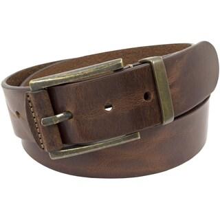 Florsheim Brown Italian Full-grain Leather 40 mm Polished Antique Brass Buckle Belt