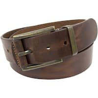 Florsheim Brown Italian Full-grain Leather 40 mm Polished Antique Brass Buckle Belt