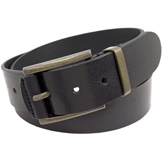 Florsheim Full Grain Black Italian Leather 40mm Belt With Polished Antique Brass Buckle