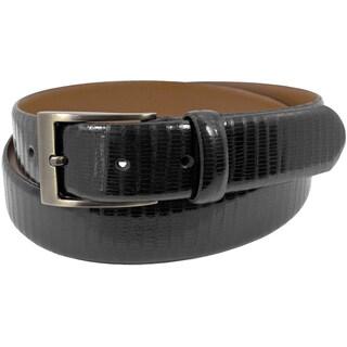 Florsheim Italian Full Grain Black Eel Embossed Leather 30 mm Belt