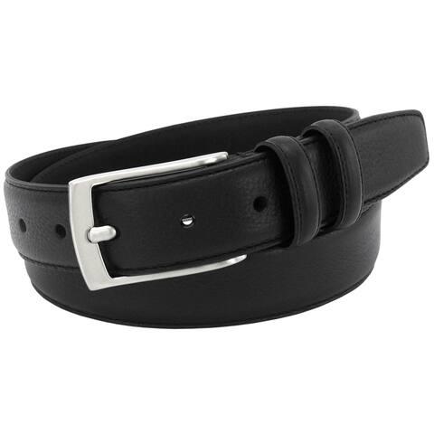 Florsheim Men's Black Italian Full-grain Leather 32-millimeter Single Stitched Edge Belt