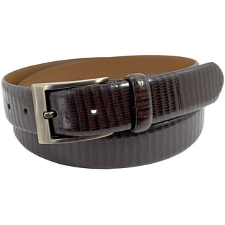 Florsheim Men's Italian Brown Full-grain Eel-embossed Leather 30mm Belt
