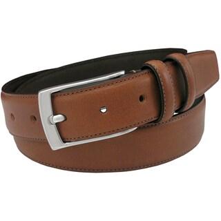 Florsheim Men's Cognac Italian Full-grain Leather 32mm Single Stitched Edge Belt