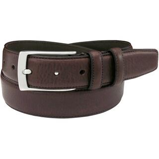 Florsheim Men's Brown Italian Full Grain Leather 32-millimeter Single Stitched Edge Belt