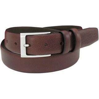 Florsheim Men's Brown Italian Full-grain Leather 32 mm Feathered-edge Belt