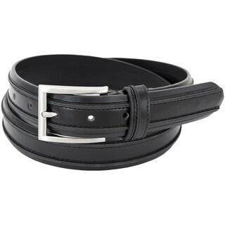 Florsheim Men's Black Leather 32mm Double-ribbed Design Belt