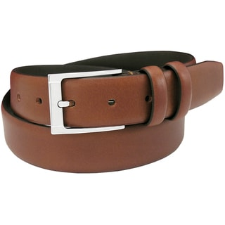 Florsheim Men's Italian Full Grain Cognac Leather 32 mm Feathered Edge Belt