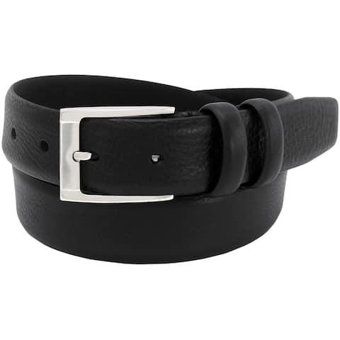 Florsheim Men's Black Italian Full-grain Leather 32 mm Feathered edge Belt