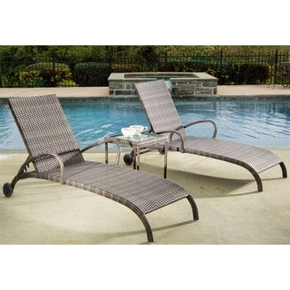 """Tutto All Weather Wicker Chaise Lounge Set With 18"""" Square Side Table and 2 Adjustable Chaises"""