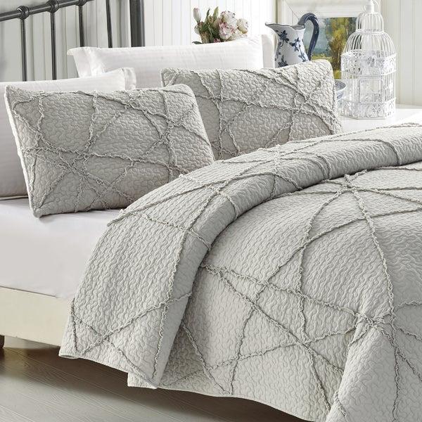 Light Grey Crazy Ruffled Cotton Quilt Set