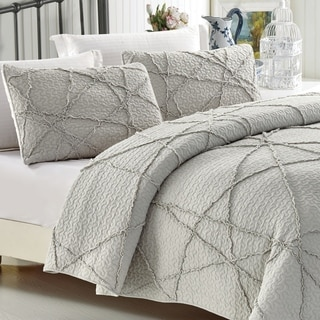 Light Grey Crazy Ruffled Cotton Quilt Set