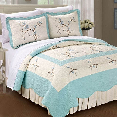Serenta Pre-washed Embroidered Cherry Blossom 3-Piece Quilt Set