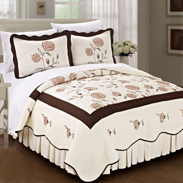 Serenta Pre-washed Embroidered Sunflowers 3-Piece Quilt Set