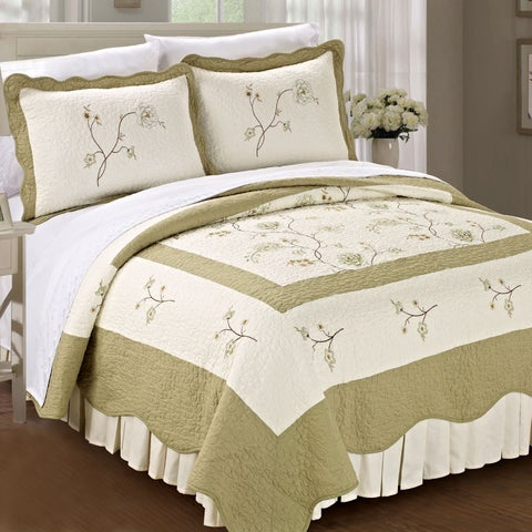 Serenta Pre-washed Embroidered Spring Flowers Microfiber 3-Piece Quilt Set