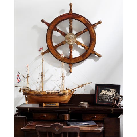 Carbon Loft Lippershey 24-inch Wooden Ships Wheel with Brass Center
