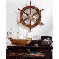 Havenside Home Buckroe 24-inch Wooden Ships Wheel with Brass Center