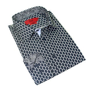 Elie Balleh Boy's Black Collection Milano Plaid White/Navy Cotton Italy 2015 Style Slim-fit Shirt (Option: 7)