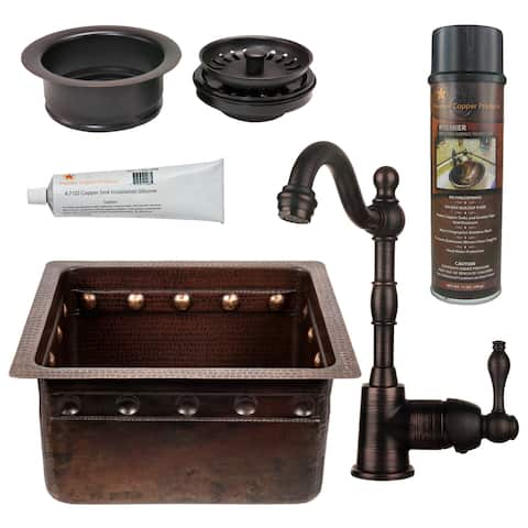 Handmade Hammered Copper Prep Sink with Faucet and Accessories Package (Mexico)