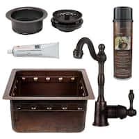 Premier Copper Products Hammered Copper Bar/Prep Sink, Faucet, and Accessories Package