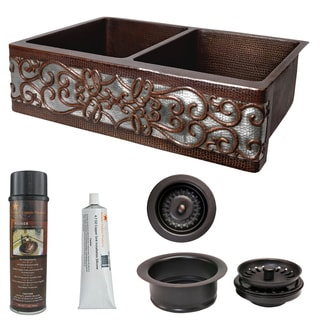 Handmade Swirl Hammered Copper Kitchen Sink and Drain Package (Mexico)