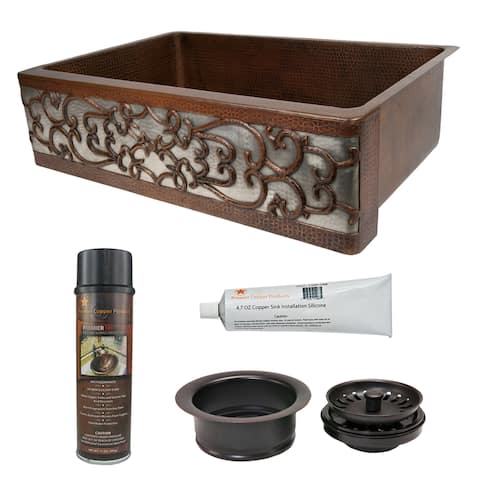 Handmade Hammered Copper Kitchen Sink and Drain Package (Mexico)