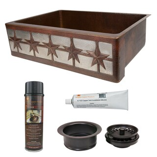 Premier Copper Products Stars Farmhouse Single Basin Kitchen Sink and Drain Package