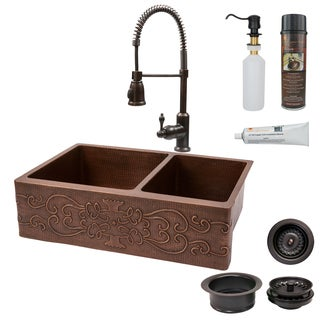 Premier Copper Products Farmhouse 60/40 Double Basin Kitchen Sink, Spring Faucet and Accessories Package