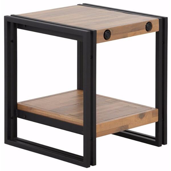 Indira Acacia Wood and Metal Side Table
