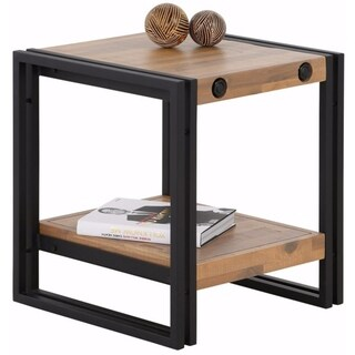 Indira Acacia Wood and Metal Side Table