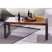 Indira Industrial Acacia Wood and Metal Coffee Table
