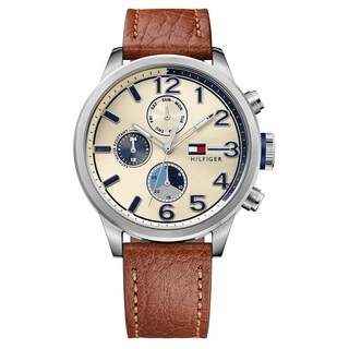 Tommy Hilfiger Men's Jackson Brown Strap with Cream Dial Leather Watch