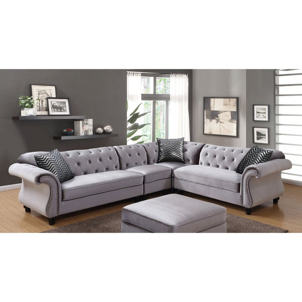 Furniture Of America Dessie III Traditional Glam Tufted Flannelette  Extended Sectional Sofa