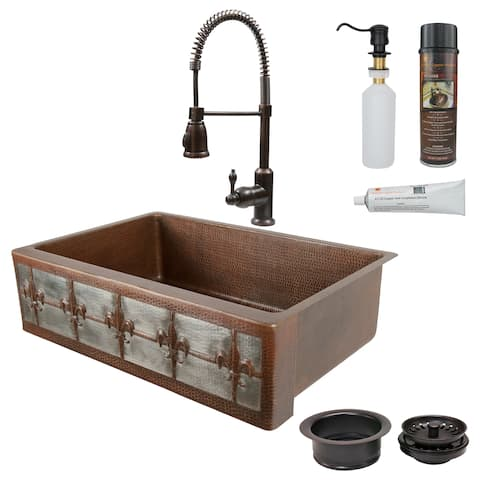 Premier Copper Products Fleur de Lis Farmhouse Single Basin Kitchen Sink, Spring Faucet and Accessories Package