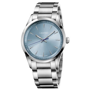 Calvin Klein Men's Bold K5A3114X Silver Strap with Light Blue Dial Stainless-steel Watch