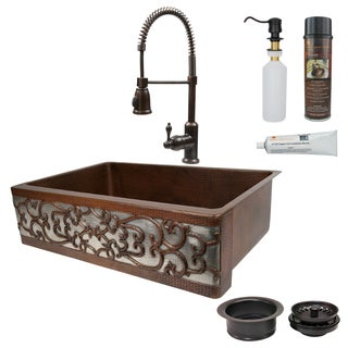 Premier Copper Products Scroll Farmhouse Single Basin Kitchen Sink, Spring Pull Faucet and Accessories Package