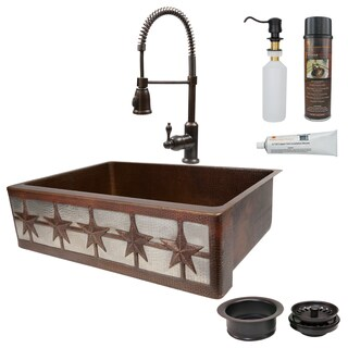 Premier Copper Products Hammered Copper Kitchen Sink, Faucet and Accessories Package