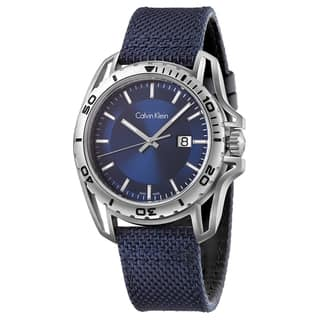 Calvin Klein Men's Earth K5Y31UVN Navy Strap with Blue Dial Fabric Watch|https://ak1.ostkcdn.com/images/products/14536433/P21088944.jpg?impolicy=medium