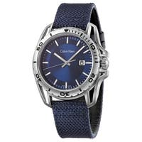 Calvin Klein Men's Earth  Navy Strap with Blue Dial Fabric Watch - Blue/Silver