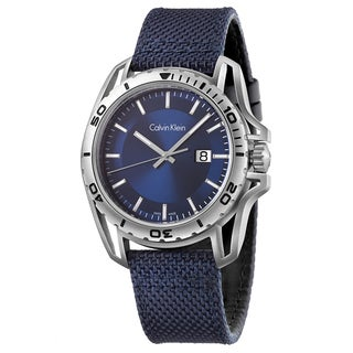 Calvin Klein Men's Earth K5Y31UVN Navy Strap with Blue Dial Fabric Watch