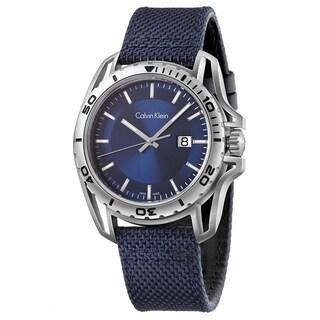 Calvin Klein Men's Earth K5Y31UVN Navy Strap with Blue Dial Fabric Watch