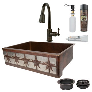 Premier Copper Products Farmhouse Stars Single Basin Kitchen Sink, Faucet and Accessories Package