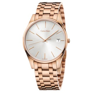Calvin Klein Men's Time K4N21646 Rose Gold Strap with Silver Dial Stainless Steel Rose Gold PVD Coated Watch - Rose Gold/Silver