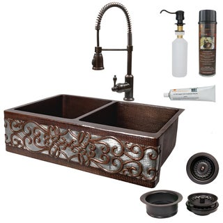 Premier Copper Products Scrolling Farmhouse Double Basin Kitchen Sink, Pull Faucet and Accessories Package