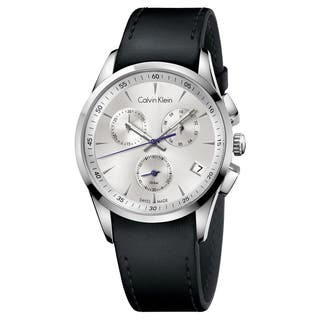 Calvin Klein Black/Silver Leather/Stainless Steel Men's Watch|https://ak1.ostkcdn.com/images/products/14536441/P21088947.jpg?impolicy=medium