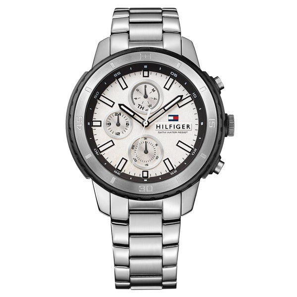 c972190a Shop Tommy Hilfiger Men's 1791191 'Sport' Multi-Function Stainless Steel  Watch - silver - Free Shipping Today - Overstock - 14536446