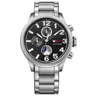 Tommy Hilfiger Men's 1791243 Jackson Silver Strap with Black Dial Stainless Steel Watch