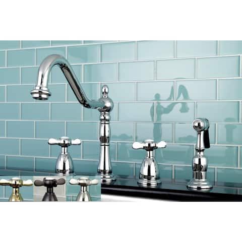 Victorian Cross-Handle Kitchen Faucet w/ Side Sprayer